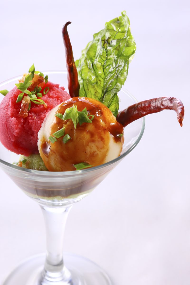 Papa Tini with different mash potato flavour with gravy and topping
