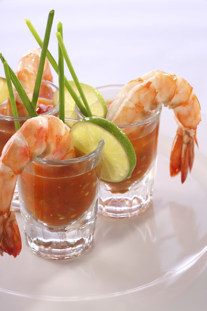 Shrimp shoot served with a Vodka cocktail sauce