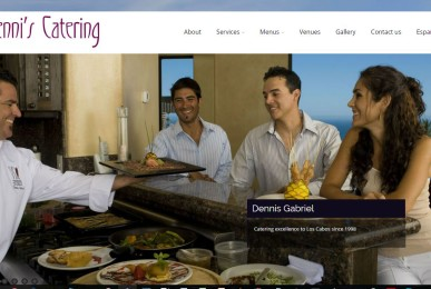 New Denni's Catering web site is highly interactive and adaptive, with online chat support and social-ready